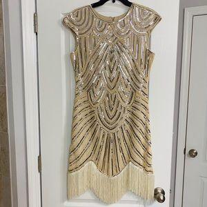 Flapper Style Trim Vintage Dress